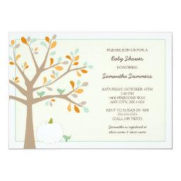 White pumpkin fall baby shower invites