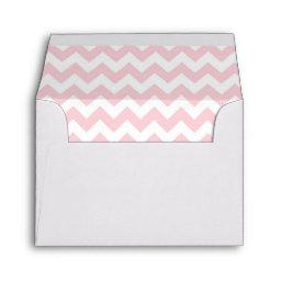 White with Pink Chevron Lined Envelope