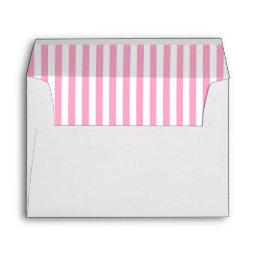White with Pınk Stripes Lined Envelope