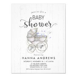 White Wood & Carriage Boy Baby Shower