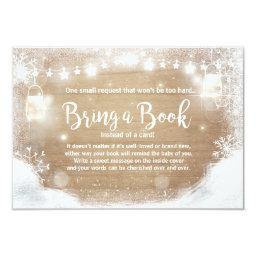 Winter Baby Shower Bring a book Snow Rustic wood