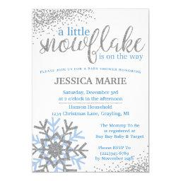 Winter Baby Shower  - Blue Snowflake