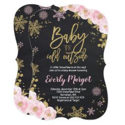 Winter Baby Shower  Pink Gold Snowflake