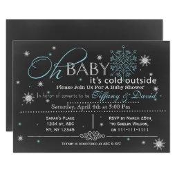Winter Snow blue Couple's Baby shower