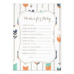 Wishes For Baby Tribal Arrows Shower Navy Orange
