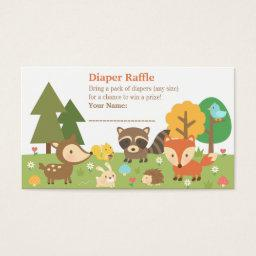 Woodland Animal  Diaper Raffle Tickets