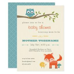 Woodland Animals Baby Shower  - owl, fox