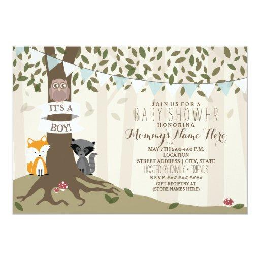 woodland baby shower invitations woodland creatures boy