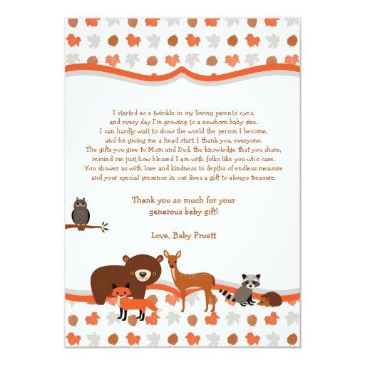 Woodland Creatures  thank you note poem
