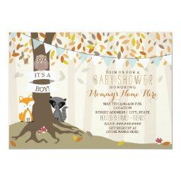 Woodland Creatures Fall Autumn Baby Shower - Boy