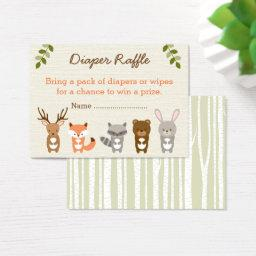 Woodland Forest Animal Diaper Raffle Tickets