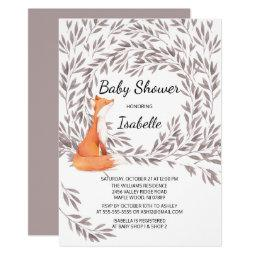 Woodland Fox Baby Shower Invite