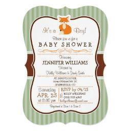 Woodland Fox; Orange, Sage, Brown Baby Shower