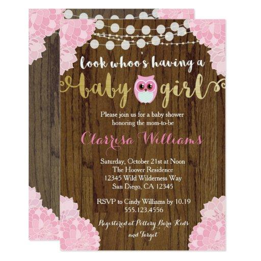 Woodland Owl Baby Girl Shower