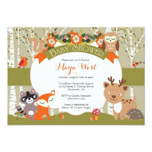baby shower woodland shower forest animals themed baby showe card