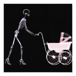 X-RAY SKELETON WOMAN & BABY CARRIAGE - PINK