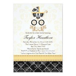 YELLOW AND BLACK DAMASK BABY CARRIAGE