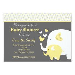 Yellow and Gray Elephant Baby Shower