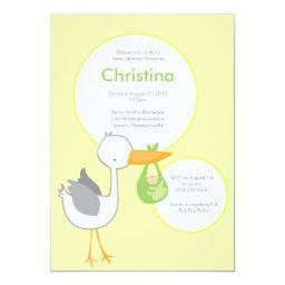 Yellow and Green Stork Baby Shower