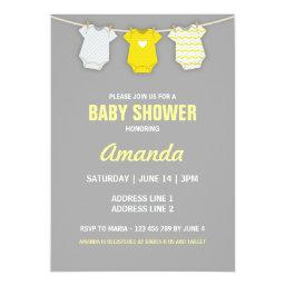 Yellow Baby Shower Invitation, Clothesline Theme