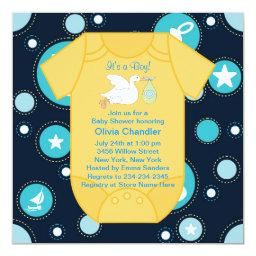 Yellow Blue Stork Baby Boy Shower