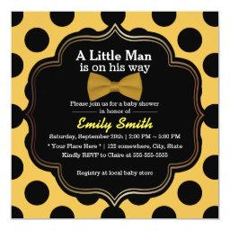 Yellow Bow Tie Polka Dots Little Man Baby Shower