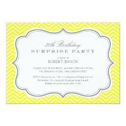 Yellow Chevron Stripes Surprise Party