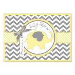 Yellow Elephant Chevron Print
