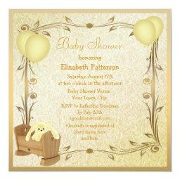Yellow & Gold Vintage Baby Shower Crib & Bunny