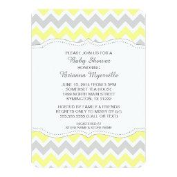 Yellow Gray Chevron Baby Shower Invites MODERN