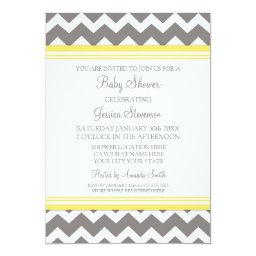 Yellow Gray Chevron Custom Baby Shower