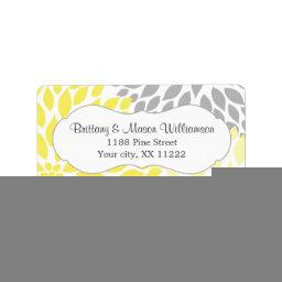 Yellow Gray Dahlia Wedding  custom Label