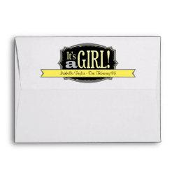 Yellow It's a Girl Due Date  Envelopes