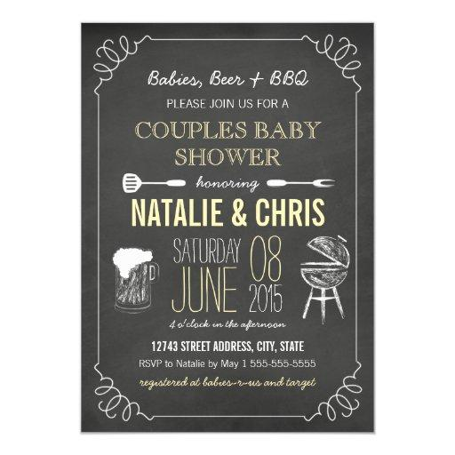 Yellow Neutral Chalkboard Couples BBQ