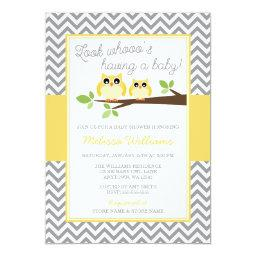 Yellow Owl Gray Chevron