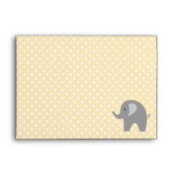 Yellow polkadot grey elephant  envelope