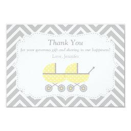 Yellow Strollers Twins Baby Shower Thank You