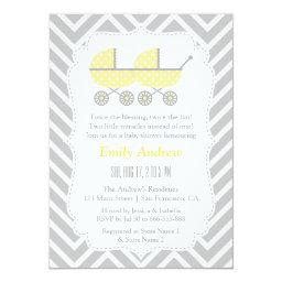 Yellow Strollers Twins Chevron  Invites