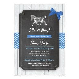 Zebra Blue Baby Shower Party Boy Wood Invite