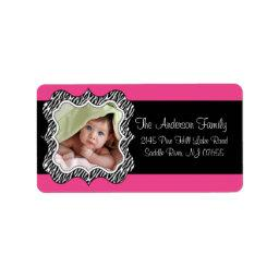 Zebra Frame Hot Pink PHOTO Return Address Label