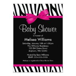 Zebra Hot Pink Printed Bow Baby Shower