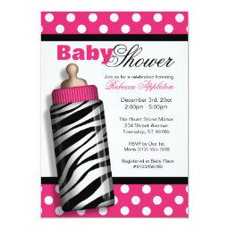 Zebra Print Baby Bottle Hot Pink Baby Shower
