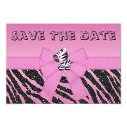 Zebra & Printed Bow Baby Shower Save the Date