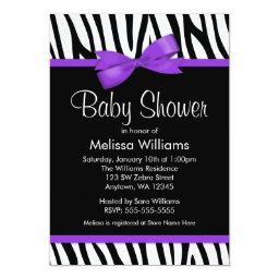 Zebra Purple Printed Bow Baby Shower