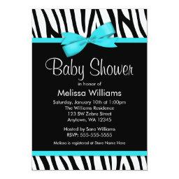 Zebra Teal Blue Printed Bow Baby Shower
