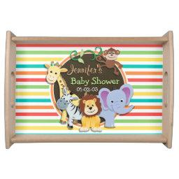 Zoo Animals Baby Shower, Bright Rainbow Stripes Serving Tray