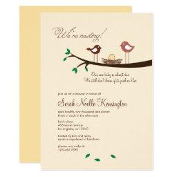 Bird baby shower invitations babyshowerinvitations4u 1 yellow egg nesting birds baby shower filmwisefo Image collections