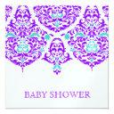 311 Mon Cherie Damask Plum Aqua Baby Shower