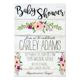 3x5 Rustic Adorned with Floral Baby Shower Invite