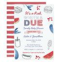 4th July Family Baby Shower Red White Due Invitation